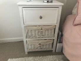 White three drawer bedside table