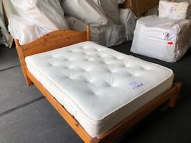 "4ft 6"" solid pine bedstead and mattress"