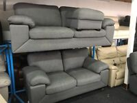 New/Ex Display Dfs Grey 3 Seater Sofa + 2 Seater Sofa + Footstool