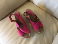 Bright pink suede Clark's cork wedge sandals - size six and a half