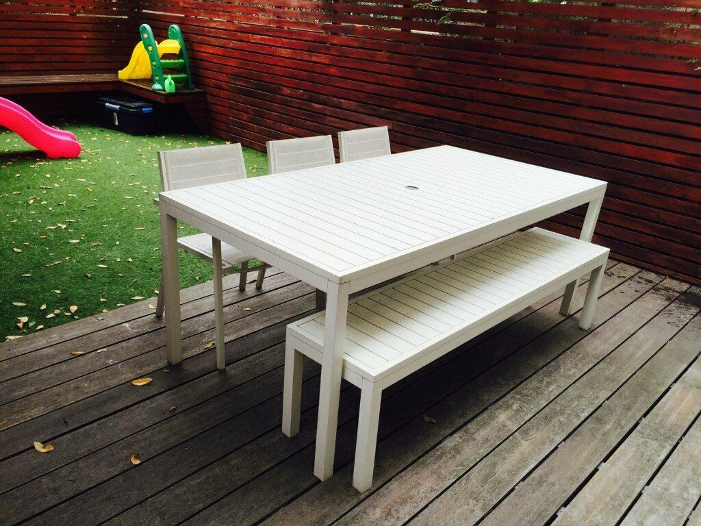 Garden Table Set Habitat S Belize White Metal And Bench With 3 Mesh Chairs
