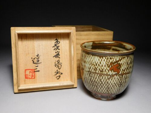 SHIMAOKA TATSUZO Original YUNOMI Mashiko pottery Teacup Signed Box Japan