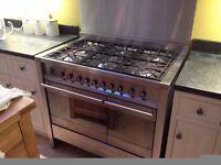 SMEG Range cooker, back splashback and cooker hood