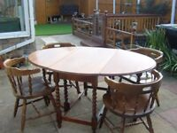 dining gate leg table & 4 chairs