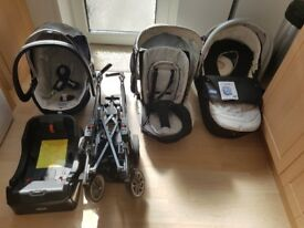 Pushchair, carry cot, car seat and car seat base