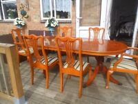 Traditional Style Yew Extending Double Pedestal Dining Table And 6 Chairs, Sideboard & corner unit
