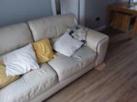 3 seat cream leather sofa