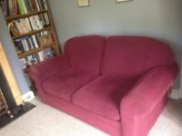 Burgundy Two Seater Sofa Bed