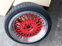 "Alloy Wheels & Tyres RED alloys 18 inch 18"" VW Audi Golf A3 A4 A6 fit 5x112 bbs rs rx lm staggered"
