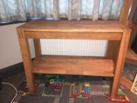 Solid oak hall table with pull out drawer