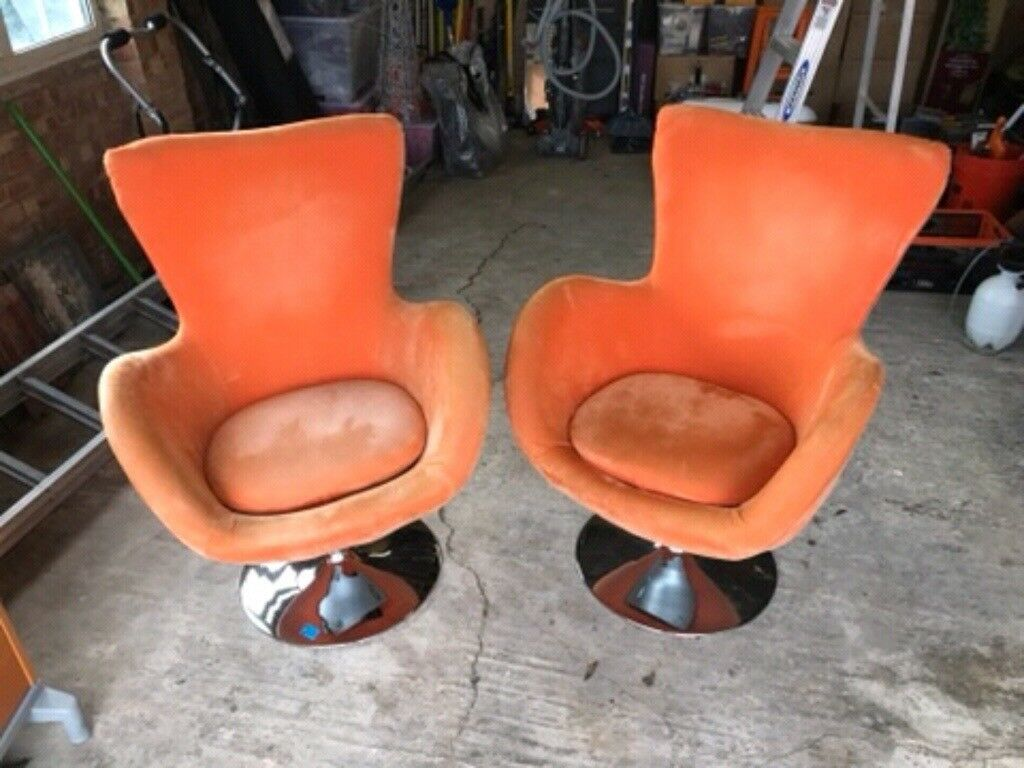 2 x Orange Egg Chairs