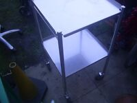 High-grade Stainless steel trolley with 2 shelves ideal for food /medical / tattoo uses