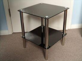 2 x Side Table Glass Metal