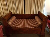 Pretty, antique victorian daybed, flamed mahogany finish