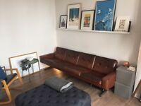 1970's Vintage 4 Seater Leather Sofa