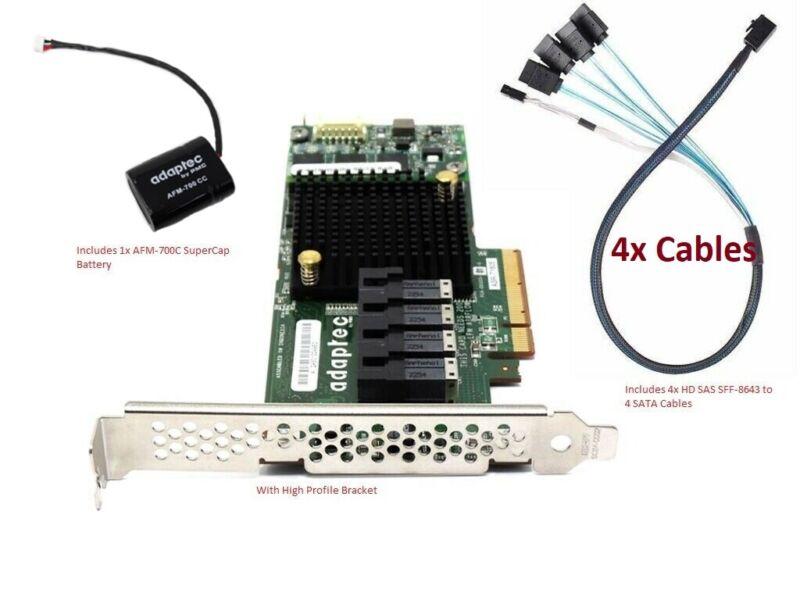 ASR-71605 Adaptec 16 Port 6Gbps PCIe Raid w Battery & 4x Mini SAS SFF-8643 Cable