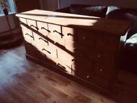 Large wooden multi draw storage unit/dresser