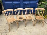 Farmhouse pine kitchen chairs