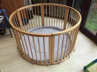 Large wooden playpen in perfect condition hardley used. with playmat