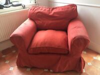 Ikea EKTORP armchair with Nordvalla red cover