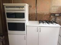 Stoves gas double oven white and Stoves gas hob with housing -Harold Wood £100 - available now