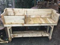 Strong wooden potting table