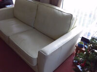 Cream Leather Settee With Fold Down Bed - Immaculate Condition And Rarely Used £50 For Quick sale.