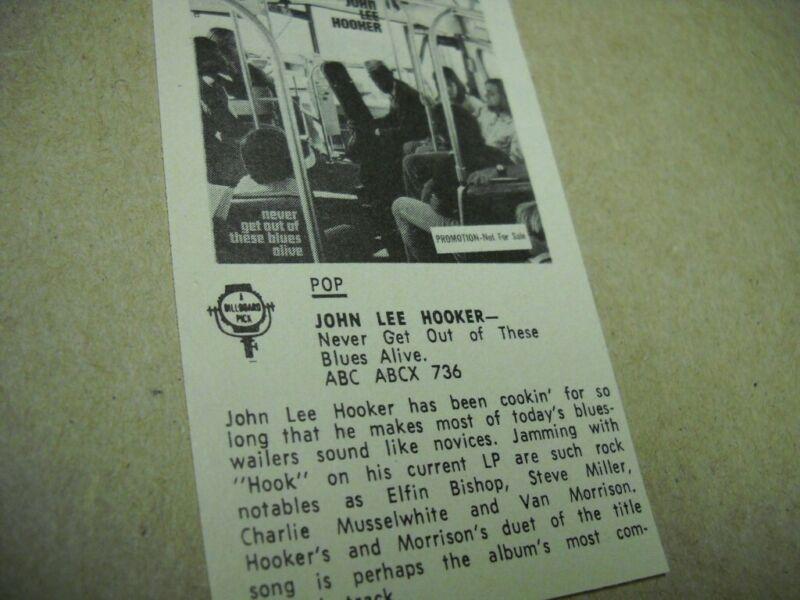 JOHN LEE HOOKER original vintage music biz promo lp review NEVER GET OUT...ALIVE