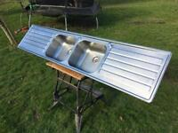 2 bowl kitchen sink with 2 drainers & wastes