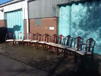 Set of 10 dining chairs all in good condition some marking on upholstry