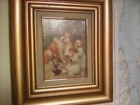 CHARMING ANTIQUE PICTURE OF ST BARNARD LITTLE CHILDREN AND KITTENS