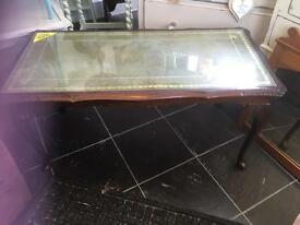 LOVELY FRENCH STYLE GLASS TOP COFFEE TABLE - CAN DELIVER