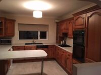 14 Kitchen Units (18mm ) with real wood doors. Worktops, double oven, extractor, hob, sink/tap