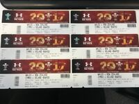 Wales V New Zealand Rugby Tickets - face value, 6 seats £75 each