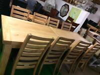 Large 11ft solid oak table £650 chairs £80 each