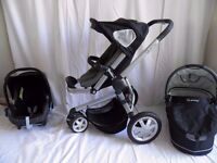 Quinny Buzz 3 Black & Grey Pushchair Carrycot and Maxi Cosi Car Seat