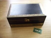 VINTAGE LARGE BLACK JEWELLERY BOX WITH GOLD DETAIL AND RED INLAY BY MELE USA