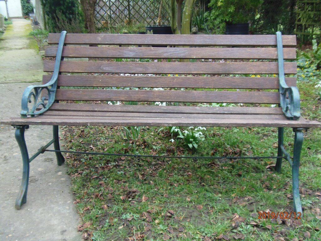No2 second hand metal and timber garden seats