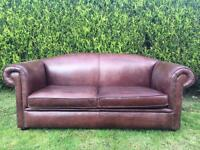 Stunning Saddle Brown thick Aniline Leather 3 seater Chesterfield style Sofa