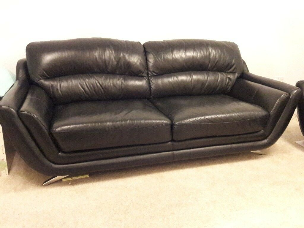 3 2 Seater Black Leather Sofas In Lenzie Glasgow