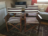 4 x FOLDING DIRECTOR'S CHAIRS - WOODEN FRAME