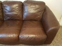 Leather 3 seater sofas (2 of) good condition, ready to collect. £250 for the pair!