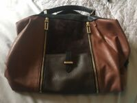 Womens Black, Tan & Gold Handbag
