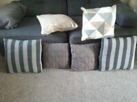Cushions for sale: grey / tweed / teal / stripe