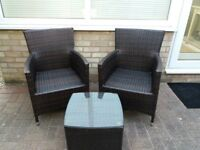 Ratten chairs and table