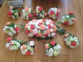 Vibrant coral and peach wedding flowers