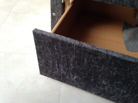 Double bed divan base with drawers charcoal grey