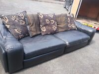 Black large leather sofa FREE DELIVERY