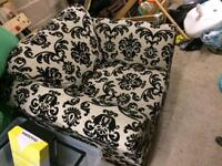 Next black and white floral armchair
