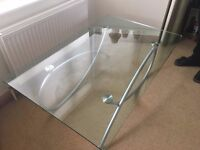 .Glass Coffee Table with Silver legs